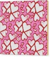 White Hearts - Valentines Pattern Wood Print