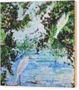 White Herons Wood Print