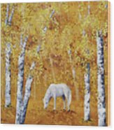 White Horse In Golden Woods Wood Print
