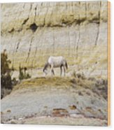 White Horse On A Mound Wood Print