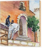 White Horses By The Cathedral In Palma De Mallorca 02 Wood Print