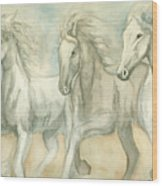 White Horses Wood Print by Delores Swanson