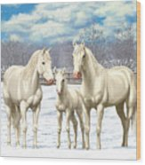 White Horses In Winter Pasture Wood Print by Crista Forest