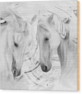 White Horses No 01 Wood Print
