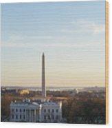 White House And Washington Monument Wood Print