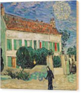 White House At Night Wood Print by Vincent Van Gogh
