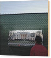 White House Fence Washington Dc Wood Print