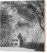 White House In Winter Wood Print