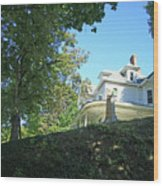 White House With Hillside Shade Wood Print