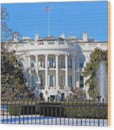 White House South Lawn With Snow Wood Print