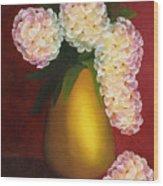 White Hydrangeas In A Golden Vase Wood Print