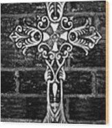 White Iron Cross Bw Wood Print