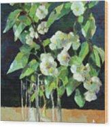 White Jasmine In A Ikea Bowl Wood Print