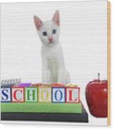 White Kitten Back To School Wood Print