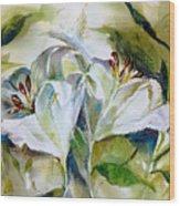 White Lilies Wood Print