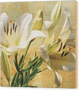 White Lilies On Amber Wood Print