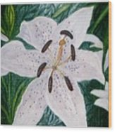 White Lillies Wood Print