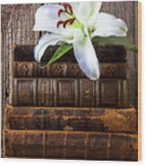 White Lily On Antique Books Wood Print