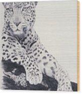 White Loepard Wood Print