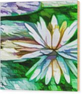 White Lotus In The Pond Wood Print