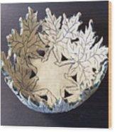 White Maple Leaf Bowl Wood Print by Carolyn Coffey Wallace
