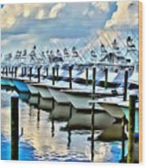White Marlin Open Wood Print
