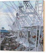 White Marlin Open Docks Wood Print