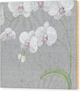 White Orchids On Sprigs  Wood Print
