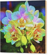 White Orchids Pastel Wood Print