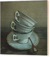 White Ornamented Teacups Wood Print