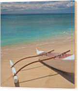 White Outrigger Canoe Wood Print