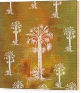 White Palms Gold Wood Print
