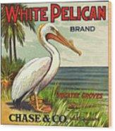 White Pelican Fruit Crate Label C. 1920 Wood Print
