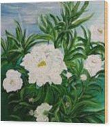 White Peonies Wood Print
