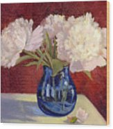 White Peonies Wood Print