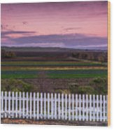 White Picket Fence Looking Over Farmland  Wood Print
