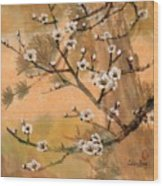 White Plum Blossoms With Pine Tree Wood Print