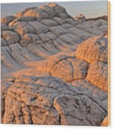 White Pockets Brain Rock Sunrise Wood Print