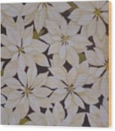 white Poinsettias Wood Print