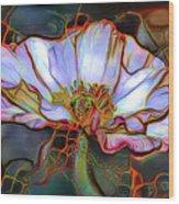 White Poppy Flower Wood Print