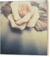 White Porcelain Rose Wood Print