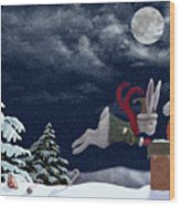 White Rabbit Christmas Wood Print