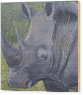 White Rhino Wood Print