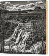 White River Falls Black  And White Wood Print