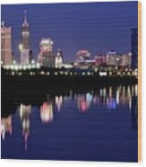 White River Reflects Indy Skyline Wood Print