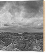White River Valley Overlook Panorama 2 Bw Wood Print