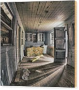 White Room, Yellow Couch, Real Estate Series Wood Print