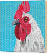 White Rooster With Blue Background Wood Print