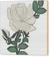 White Rose On A Winter Day Wood Print