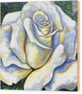 White Rose Two Wood Print